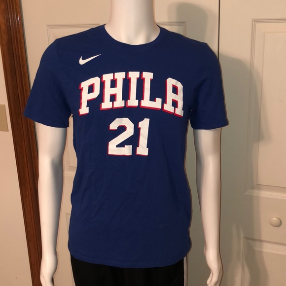 premium selection 94a4a 83a3f Nike Sixers Joel Embiid Jersey Tee